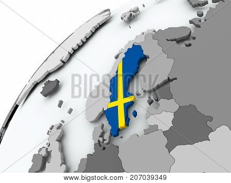 Flag Of Sweden On Grey Globe