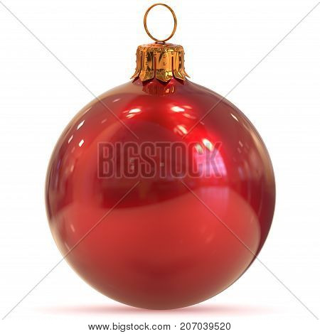 Christmas ball decoration red closeup New Year's Eve bauble hanging adornment traditional Happy Merry Xmas wintertime ornament polished. 3d rendering illustration