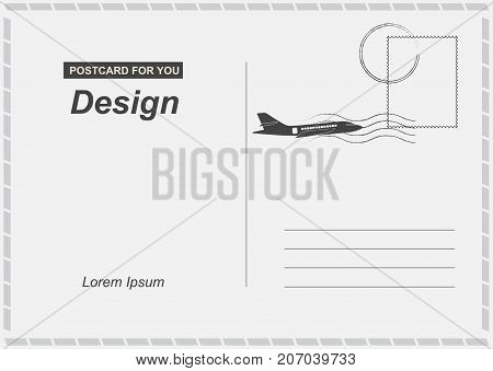 Postcard With Airplane Icon Flat Vector Illustration Eps 10. Postal Card For Travel. Template Design