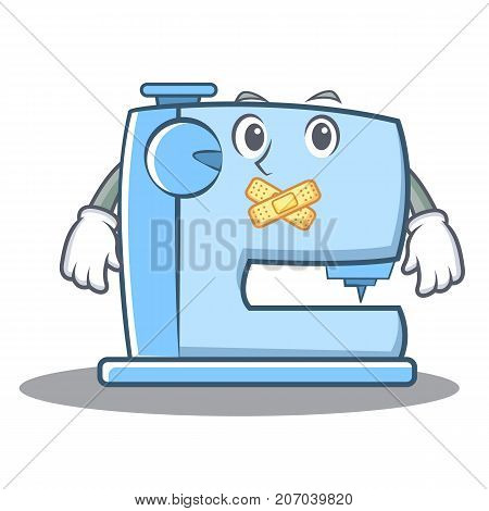 Silent sewing machine emoticon character vector illustration
