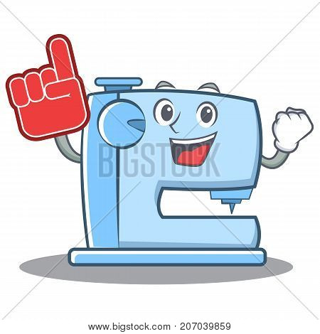 Foam finger sewing machine emoticon character vector illustration