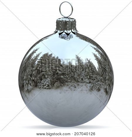 Christmas ball decoration white chrome bauble Happy New Year's Eve hanging adornment traditional Merry Xmas wintertime ornament silver sparkling closeup. 3d rendering illustration