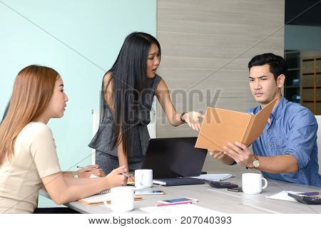 Angry boss dissatisfied with bad work result