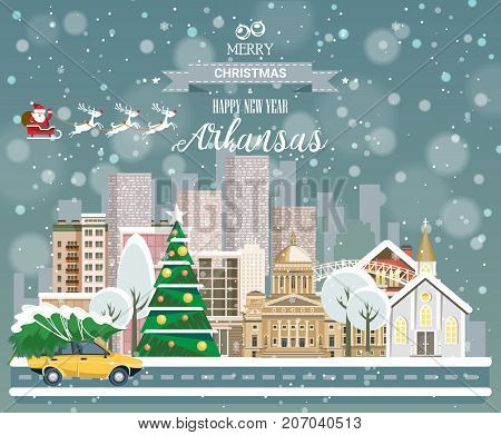 Christmas greeting card in flat modern style. Merry Christmas and Happy New Year, Arkansas