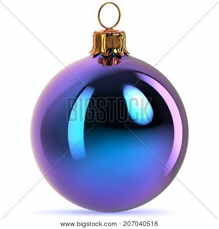 Blue Christmas ball decoration bauble Happy New Year's Eve hanging adornment traditional Merry Xmas wintertime ornament polished closeup. 3d rendering illustration