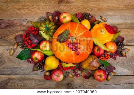 Thanksgiving Arrangement With Pumpkins, Apples, Pears, Colorful Leaves