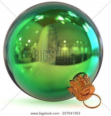 Christmas ball decoration green New Year's Eve bauble hanging adornment traditional Happy Merry Xmas wintertime ornament polished closeup. 3d rendering illustration