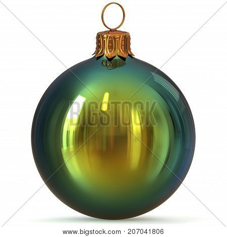 Christmas ball green New Year's Eve bauble decoration closeup hanging adornment traditional Happy Merry Xmas wintertime ornament polished. 3d rendering illustration