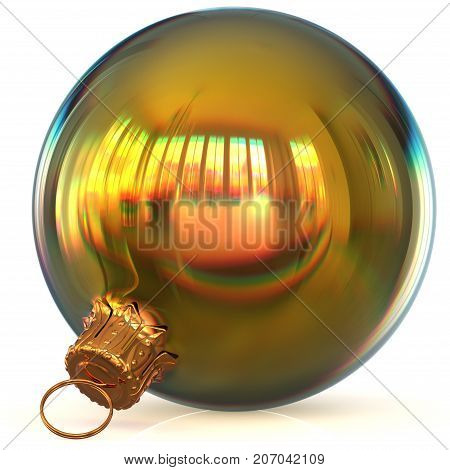 Christmas ball decoration golden bauble closeup New Year's Eve hanging adornment polished traditional Happy Merry Xmas wintertime ornament sparkling. 3d rendering illustration