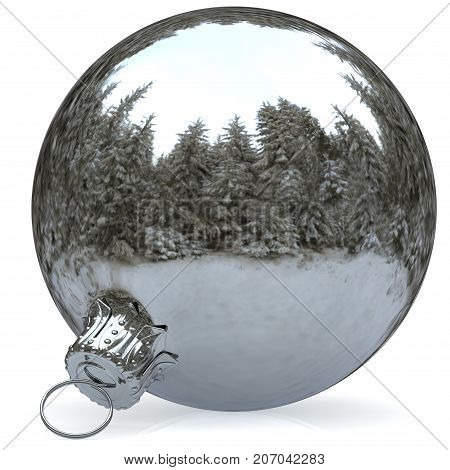 Christmas ball decoration chrome white bauble closeup Happy New Year's Eve hanging adornment polished traditional Merry Xmas wintertime ornament sparkling. 3d rendering illustration