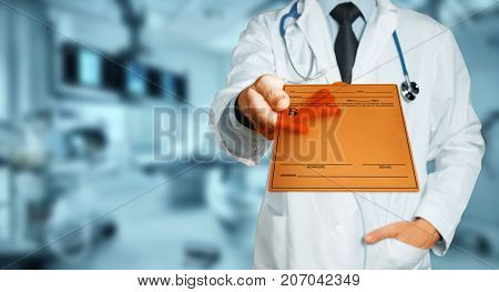 Male Doctor Holding Tablet With Diagnosis, Prescription Or Medical Data. Healthcare Insurance Medicine Concept