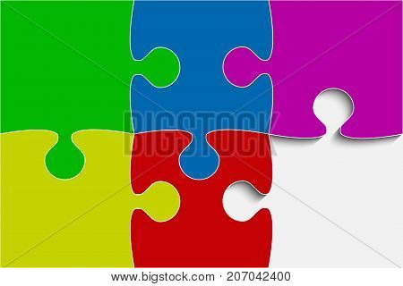 Vector Multi Color Puzzle Round Infographic Presentation. 3 Step Rectangle Business Diagram. Four Section Compare Service Banner. Vector Illustration Template Shape.