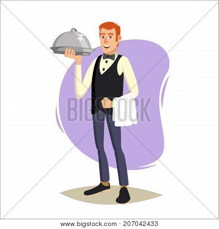 Waiter, Cute Character Vector. Happy Waiter. Dinner, Romantic Evening. Menu Board Background. Cartoon Character Illustration
