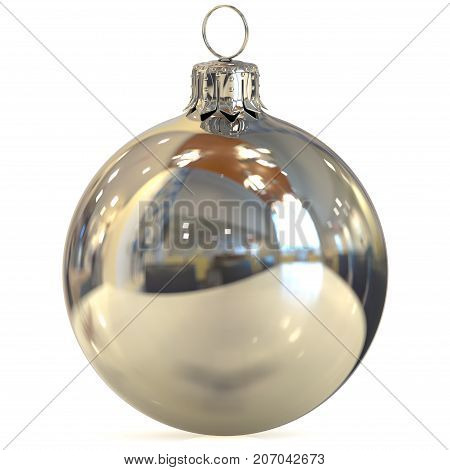 Christmas ball silver chrome decoration closeup New Year's Eve bauble white hanging adornment traditional Happy Merry Xmas wintertime ornament polished. 3d rendering illustration