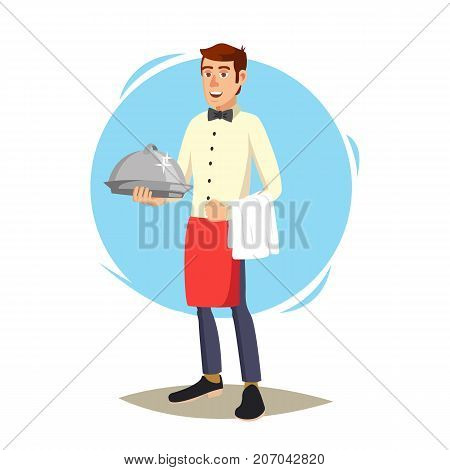 Waiter In Cafe Vector. Professional Waiter. Dinner Date. Food, Drink Concept. Isolated On White Cartoon Character Illustration