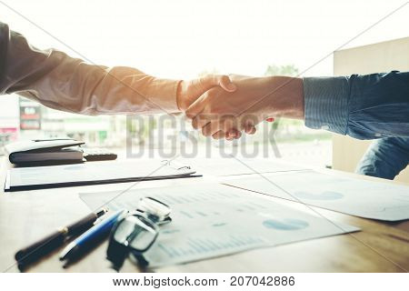 Business Startup People Colleagues Shaking Hands Meting Planning Strategy Analysis Concept