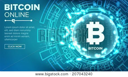 Bitcoin Abstract Technology Background Vector. Binary Code. Fintech Blockchain. Cryptography. Cryptocurrency Mining Concept