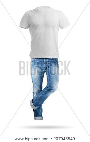 Blue jeans trouser and shirt isolated on the white background