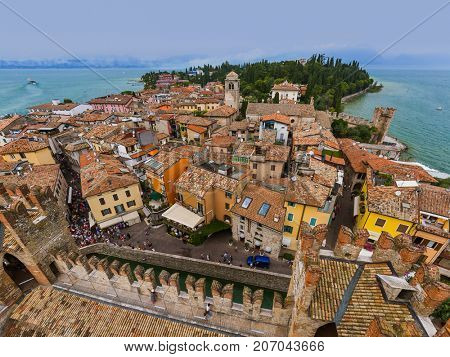Castle on Lake Garda in Sirmione Italy - architecture background