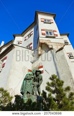 Castle and statue Thieves in Innsbruck Austria - architecture background