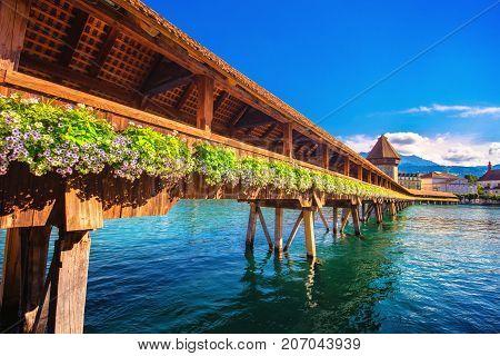 Chapel Bridge and Water Tower in Luzern - Switzerland