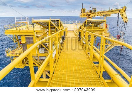 Oil and gas wellhead remote platform in the gulf of Thailand produce gas condensate and sent to central processing platform.