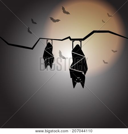 Create halloween night with sleep bats stock vector