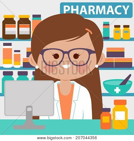 Pharmacist at the counter in a pharmacy opposite of shelves with medicines. Vector illustration