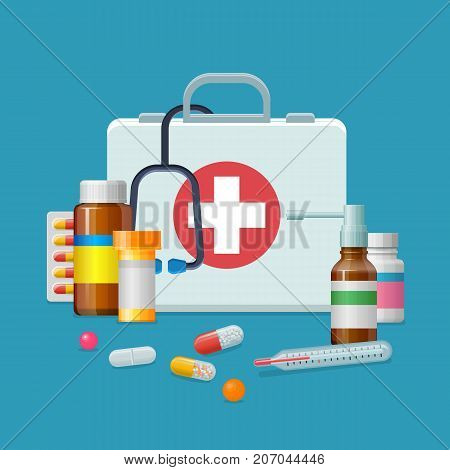 First aid kit medicine cartoon style isolated. Doctor's first-aid kit in a cartoon style isolated on white bacground. Medicine chest with tools and drugs as vector illustration.