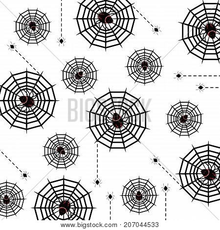Halloween poison spider and web pattern background stock vector