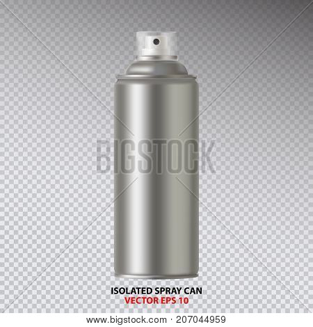 Paint Aerosol Spray Metal 3D Bottle Can, Graffiti, Deodorant, Household Chemicals, Poison. Front View. Vector Illustration Isolated On transperent Background. Mock Up Template For Your Design.