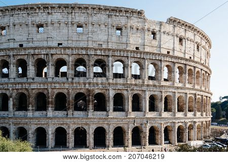 Outdoor view of The Colosseum or Coliseum, also known as the Flavian Amphitheatre. It is an oval amphitheatre in the centre of the city of Rome.
