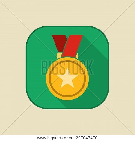 Gold medal icon with star sign. First place medal with ribbon. Award for winner and champion. Vector isolated object.