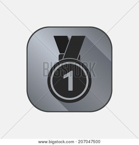 Medal icon with first place sign. Medal with ribbon. Award for winner and champion. Vector isolated object.