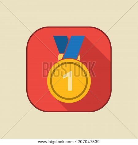 Gold medal icon with first place sign. Medal with ribbon. Award for winner and champion. Vector isolated object.