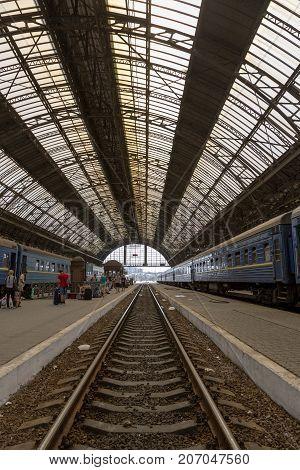 LVOV, UKRAINE - AUGUST 12, 2017:Railway platform of the Lvov railway station