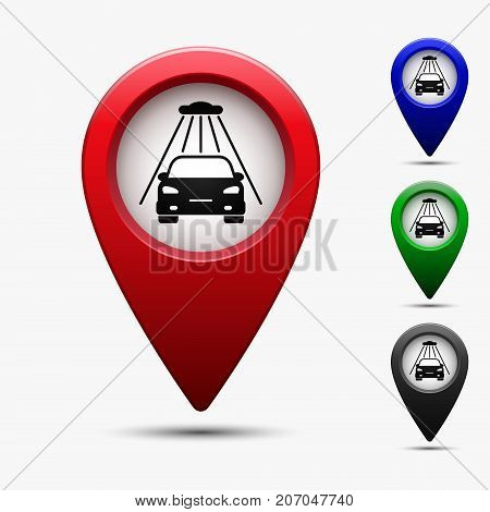 Colored map pointer with car wash symbol. For location map. Mark icon. Sign for gps navigation. Index location on map. Pointer location. Vector isolated ilustration.