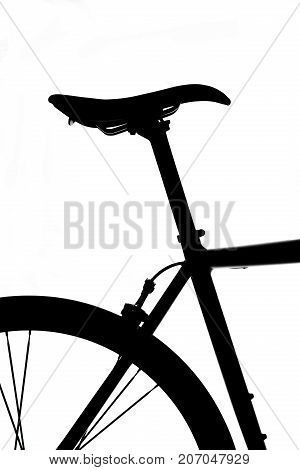Bicycle saddle and seatpost Silhouette on white background.