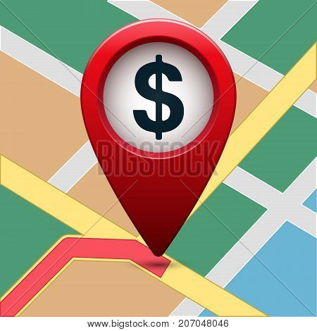 Colored map pointer with dollar symbol. For location map. Mark icon. Sign for gps navigation. Index location on map. Vector isolated ilustration.