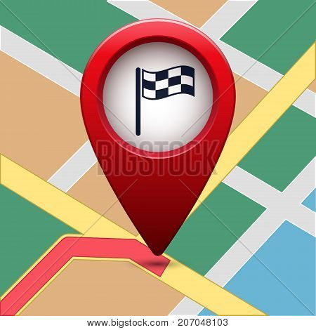 Colored map pointer with symbol flag and finish. For location map. Mark icon. Sign for gps navigation. Index location on map. Pointer location. Vector isolated ilustration.