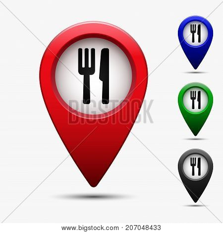 Colored map pointer with symbol restaurant. For location map. Mark icon. Sign for gps navigation. Index location on map. Pointer location. Vector isolated ilustration.