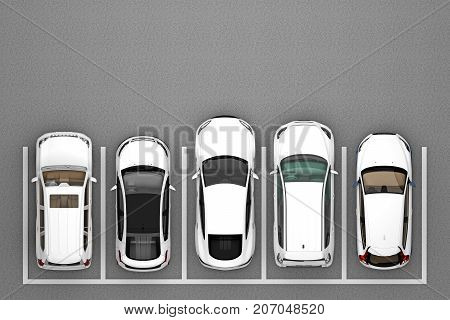 parking with white cars top view. 3d rendering