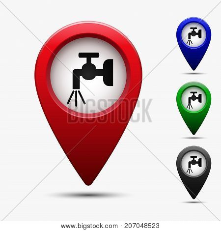 Colored map pointer with symbol water tap. For location map. Mark icon. Sign for gps navigation. Index location on map. Pointer location. Vector isolated ilustration.