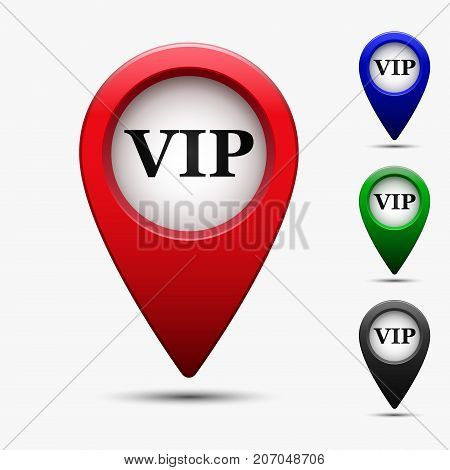 Colored map pointer with symbol vip. For location maps. Mark icon. Sign for gps navigation. Index location on map. Pointer location. Vector isolated ilustration.