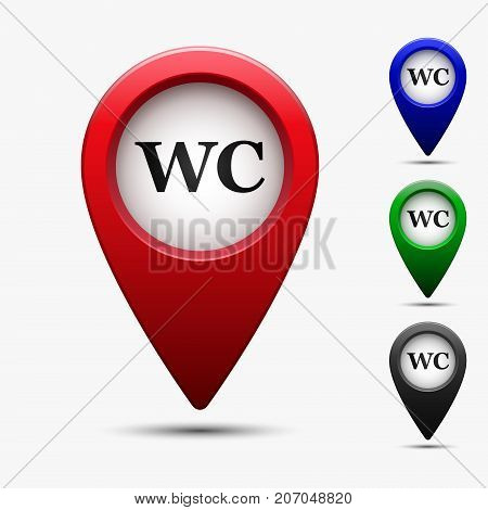 Colored map pointer with symbol toilet or wc. For location maps. Mark icon. Sign for gps navigation. Index location on map. Pointer location. Vector isolated ilustration.