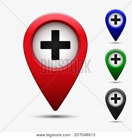 Colored map pointer with symbol cross medicine and hospital. For location maps. Mark icon. Sign for gps navigation. Index location on map. Pointer location. Vector isolated ilustration.
