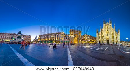 Milan Cathedral, Piazza del Duomo at night, Lombardia, Italy on July 23, 2017
