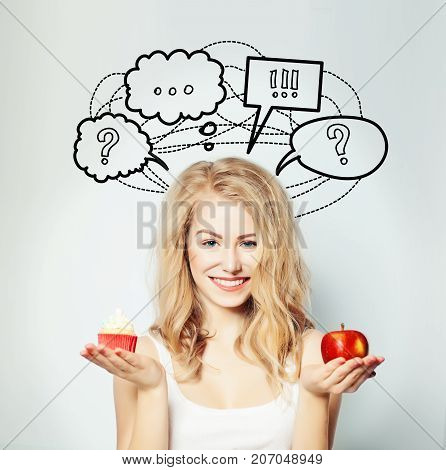 Happy Woman with Healthy and Unhealthy Food Diet and Overweight Concept. Healthy Eating Lifestyle. Weight Loss