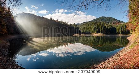 Gorgeous Foggy Morning On The Mountain Lake