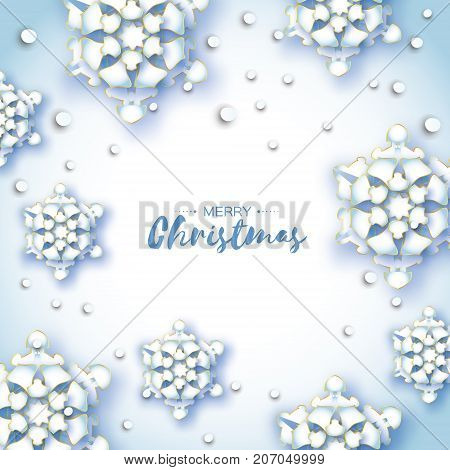 Origami Snowfall. Merry Christmas Greetings card. White Paper cut snow flake. Happy New Year. Winter snowflakes background. Space for text. Holidays. White background. Vector illustration.